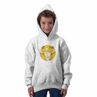 male human anatomy body builder flexing muscle hooded sweatshirts