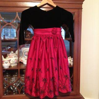 Jayne Copeland Girls Black Velour Red Satin Bling Bow Holiday Dress 6