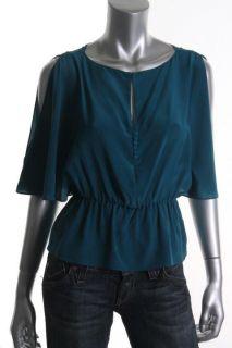 Elizabeth James New Penelope Green Silk Cold Shoulder Sleeves Blouse