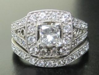 Jared Certified Princess Cut Halo Diamond Engagement Ring Bridal Set