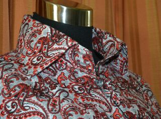 Jared Lang Long Sleeve Red Gray Black 100 Cotton Paisley Floral Shirt