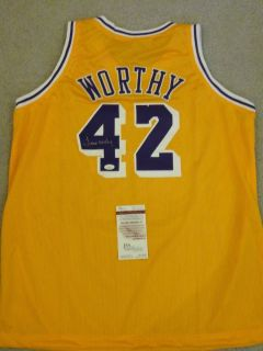James Worthy Signed Auto Los Angeles Lakers Jersey JSA Autographed