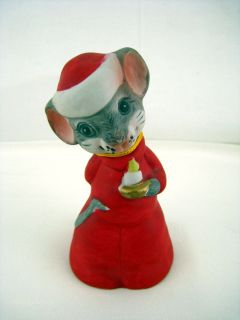 Christmas Mouse Bell Critter Bells New Jasco 1980 Ceramic