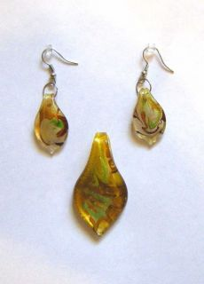 Italian Glass Pendant and Earrings with French Hooks