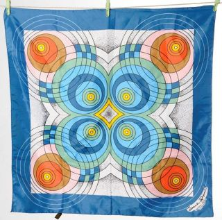 Vintage Jeane Dixon Blue Pink Brown Circles Print Scarf Wrap Rolled 27