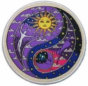 Dan Morris Ying Yang Yin Hippie Woven Iron on Badge Applique Patch