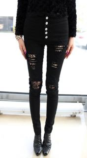 High Waist Black Skinny Jeans Lace Lined Ripped Distressed UK 6 8 10