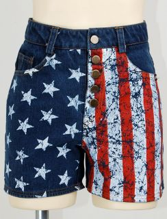 SALE Blue Denim Jeans US USA American Flag High Waisted Shorts Hot