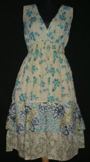 Jane Ashley Cotton Lined Floral Tiered Sleeveless Dress L B 36 w 26 40