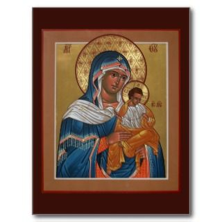 Theotokos with St. Nicholas and Blessed Seraphim Post Cards