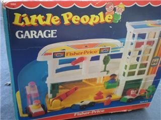 Vinage Fisher Price Parking Garage 1987 Complee 5 Cars 6 Lile