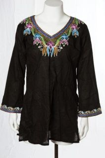 Jasmin New Black Embroidered Sheer Light Tunic Top Kurti Style Shirt