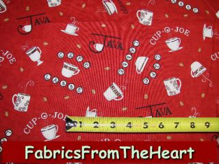 Java Coffee Cups Cafe Latte Beans on Red Moda Fabric