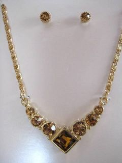 New fashion jewelry necklace earrings gift box set gold crystals 18 in