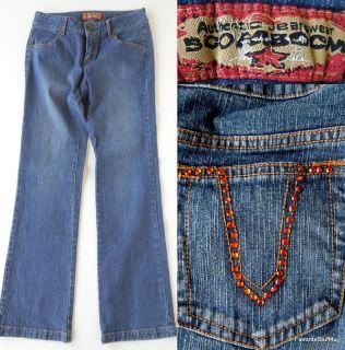 Authentic Boom Boom Jeans Rhinestones Medium Wash Low Rise 31 Inseam