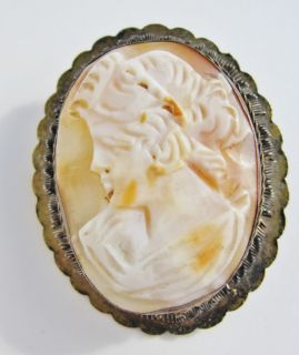 Vintage Carved Shell Cameo Brooch 800 Sterling Filigree Setting B25A