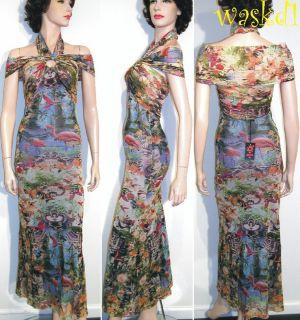 Jean Paul Gaultier Mesh Blue Flamingo Halter Dress