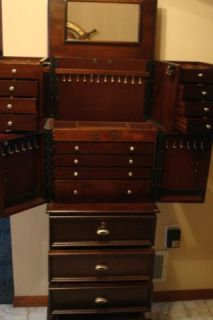 Jewelry Armoire Furniture Java Dark Wood Cabinet Box Drawers Necklaces