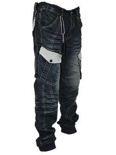 Mens Blue Cru 10 Designer Faded Cuffed Jeans All Sizes