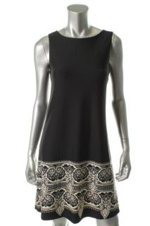 Julie Brown New Black Printed Sleeveless Knee Length Casual Dress M