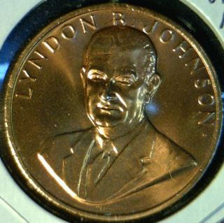 Lyndon B Johnson US Mint Inaugurated Commemorative Bronze Medal Token