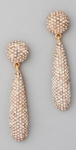 Kenneth Jay Lane Crystal Bat Drop Gold Plated Pierced Earrings