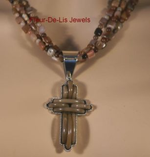 Jay King Mine Finds Petrified Wood Cross Necklace PDT