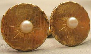Vtg Sarah Cov Green Thermoset Brown Moonglow Cats Eye Mens Cufflinks
