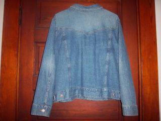 Womens IZOD Blue Jean Stretch Denim Trucker Jacket Size 3X