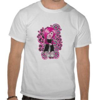 pink hair punk emo girl vector art t shirts