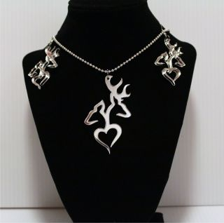 Browning Deer Heart laser cut pendant & Earrings ACRYLIC hunting/gift