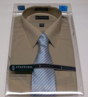 New Stafford Mens Shirt Tie Gift Box Set Khaki Dress Shirt Patterned