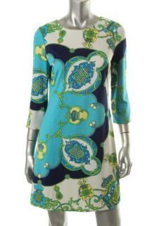 Julie Brown New Maggie Blue Printed Jersey Shift Wear to Work Dress L