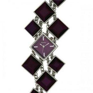 HENLEY LADIES DIAMOND PURPLE CUT GLASS BRACELET WATCH / 1 SELF