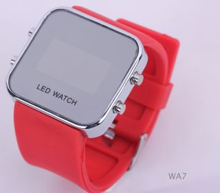1P Red JELLY SILICONE RED LED DAY DATE DIGITAL UNISEX WRIST MIRROR