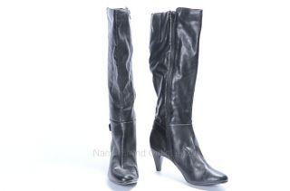 Alfani 11 Black Faux Leather Jeanna Tall Buckle Strap Round Toe Knee