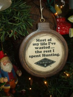 Redneck Hunting Jeff Foxworthy Christmas Tree Ornament with Brown Trim