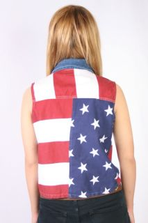 American Flag Vest Jean Collar 4th of July