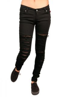 It Up Ripped Fishnet Skinny Jeans Punk Stretch Gothic Rock