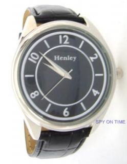 Henley Mens Black Round Dial Black Strap Watch BNIB