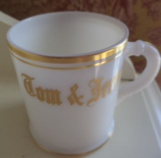 Childs Tom Jerry White Milk Glass Gold Trim Cup Mug 2 7 8 inch Vintage