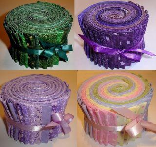 Green Purple Lavender Pastel Fabric Jelly Rolls