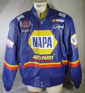 Napa Blue Leather Racing Jacket Small Hornaday NASCAR