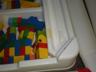 Vintage Fisher Price Building Play Storage Toy Table 100 Lego Duplo