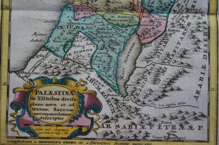 Israel Palestine Holy Land Jerusalem Bethlehem Engraving Map Weigel
