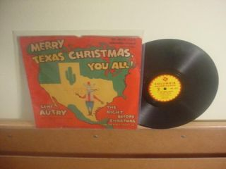 GENE AUTRY 78 & PICTURE SLEEVE COLUMBIA singing MERRY TEXAS CHRISTMAS