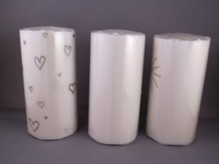 Lot of 3 White Friendship Poem Candles Emerson Steveson