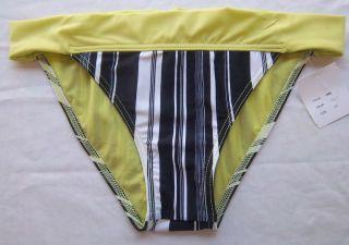 JLO Jennifer Lopez Black Striped Bikini Bottoms w Green Large Bathing