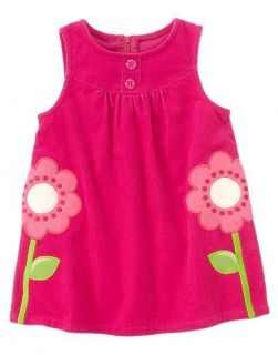 NWT Gymboree SMART AND SWEET Pink Flower Corduroy Jumper Dress sz 2T