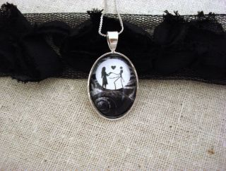 Nightmare Before Christmas Jack and Sally Love Moon Pendant Necklace